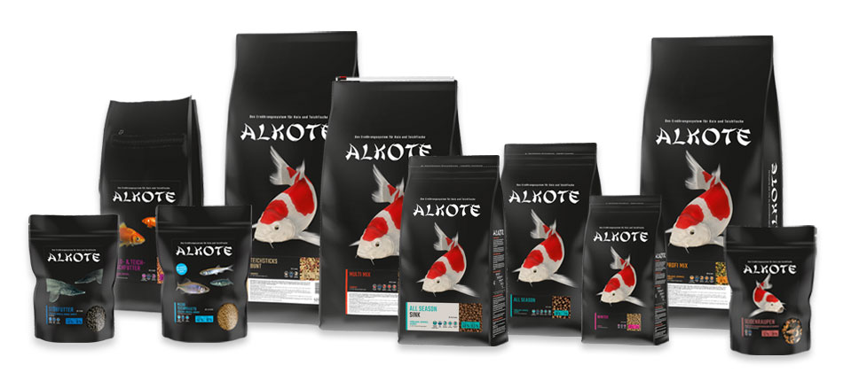 10 schwarze Verpackungen des Koifutter von Alkote, verschiedene Sorten und Größen
